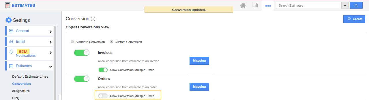 Allow Conversion Multiple Times