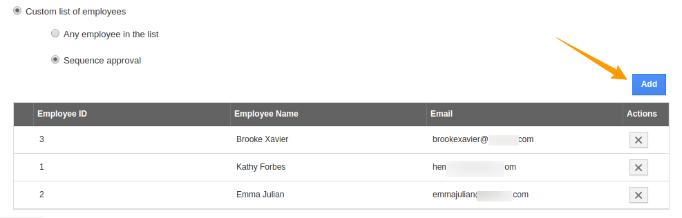 Custom list of employees