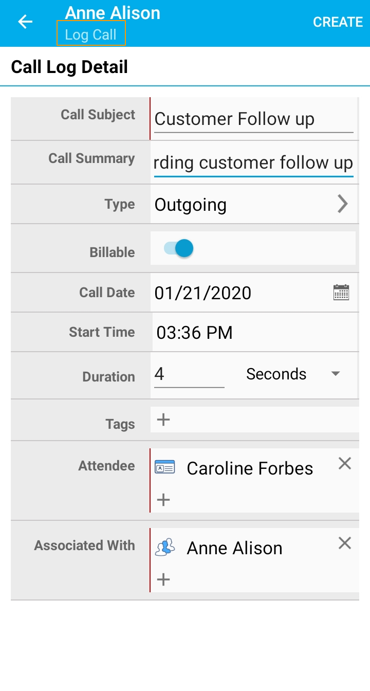 Call Log details