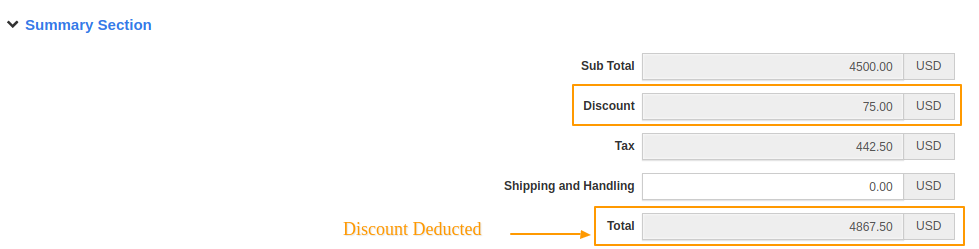 Discount Deducted