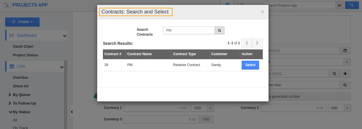 Contracts: Search and Select