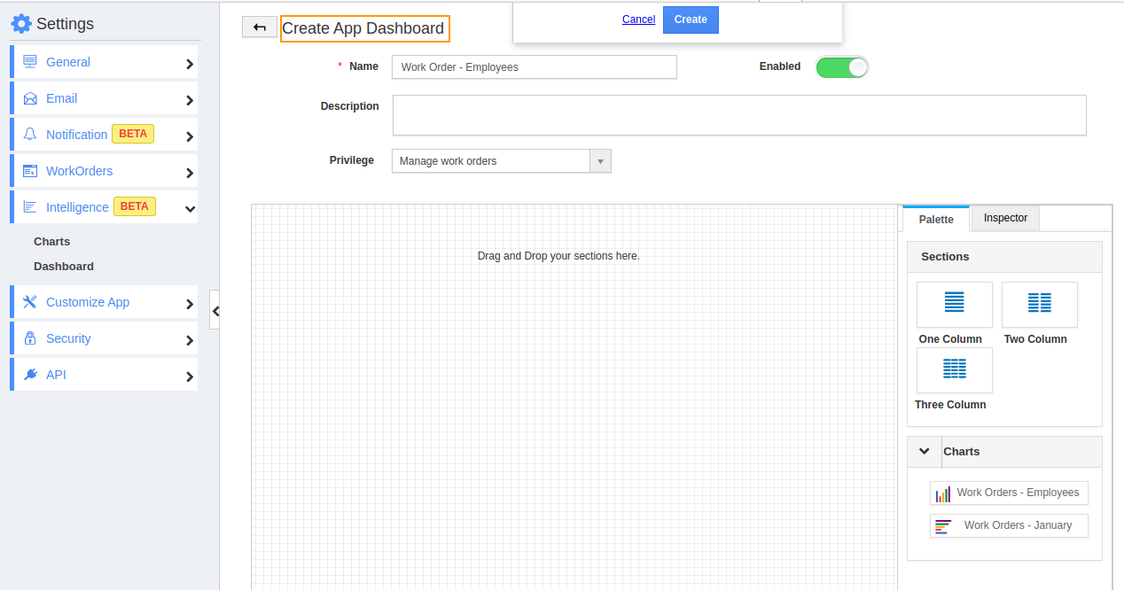 Create App Dashboard