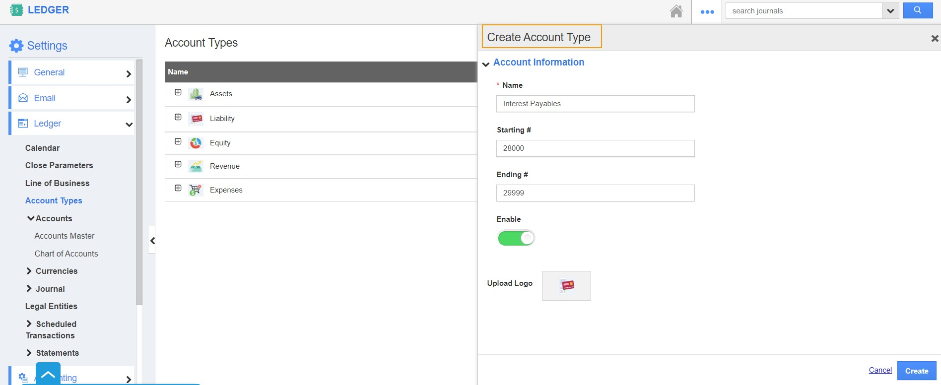 Create Account Type