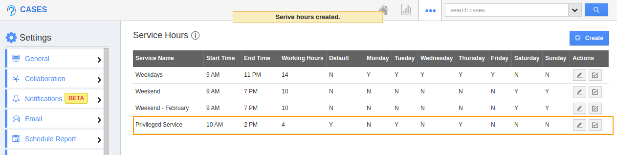 Service Hour Created