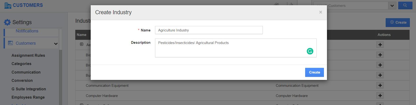 Create Industry Type