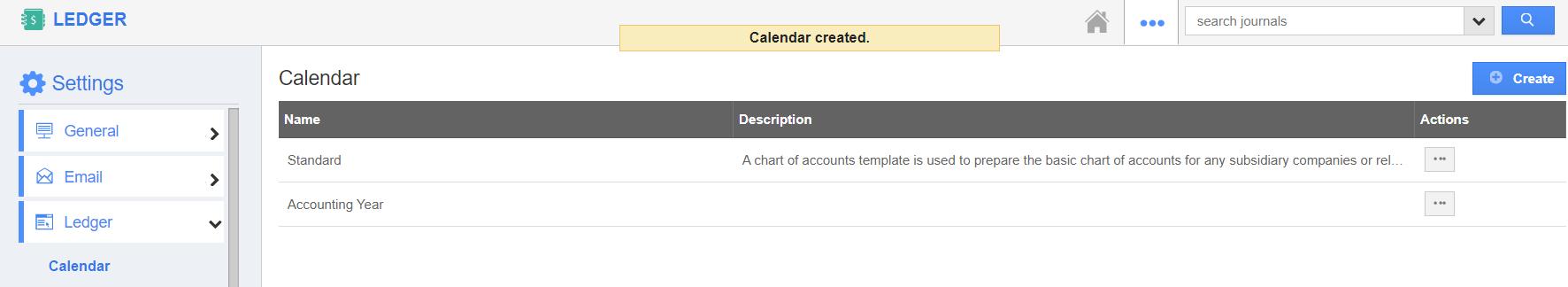 Calendar Created