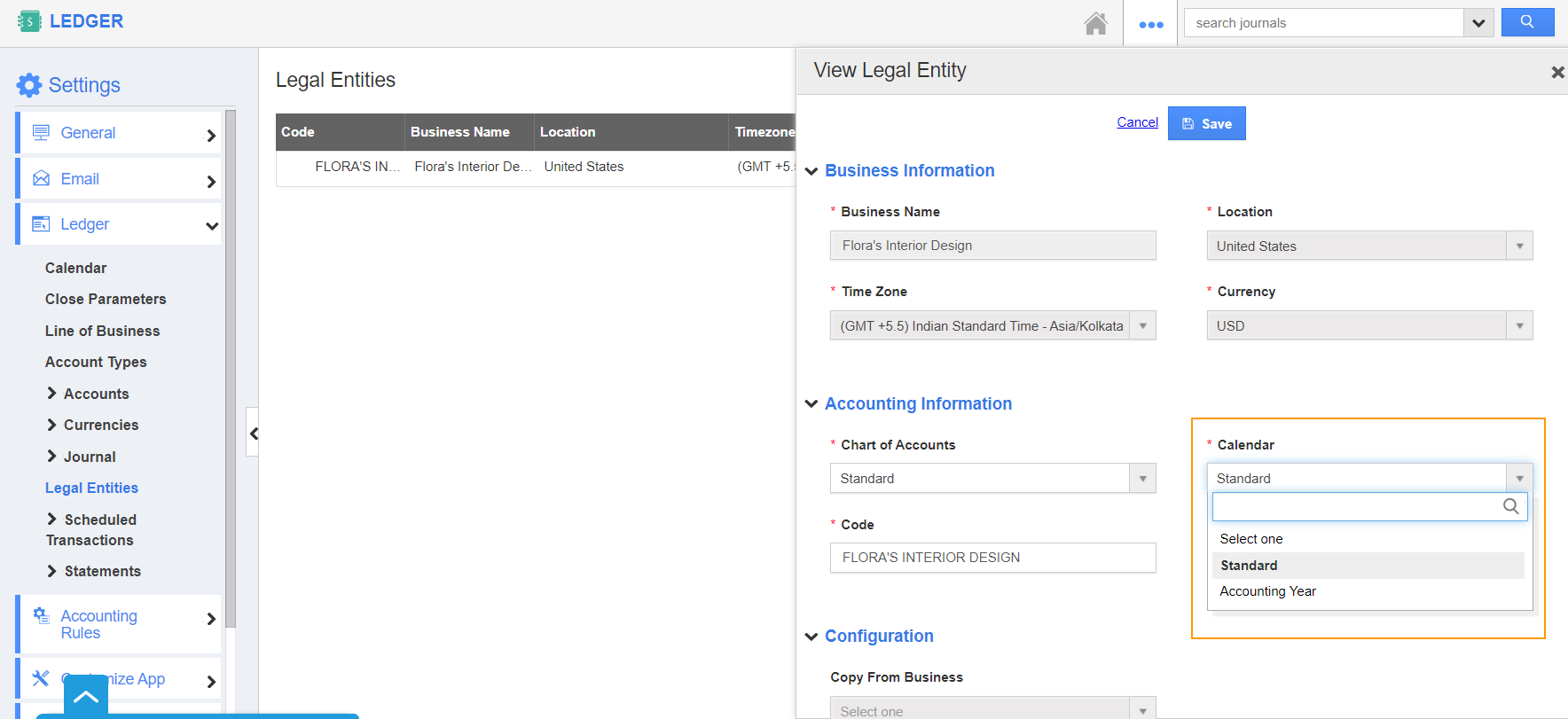View Legal Entities