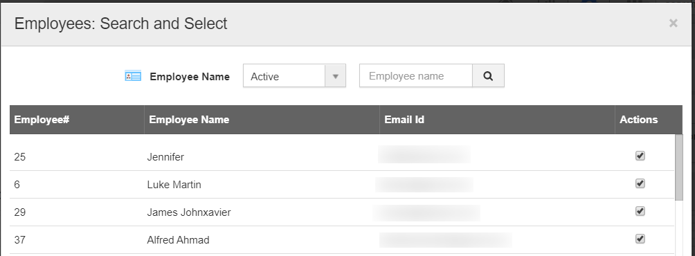 Employees Search and Select