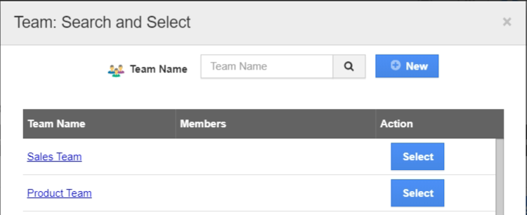 Team search and select