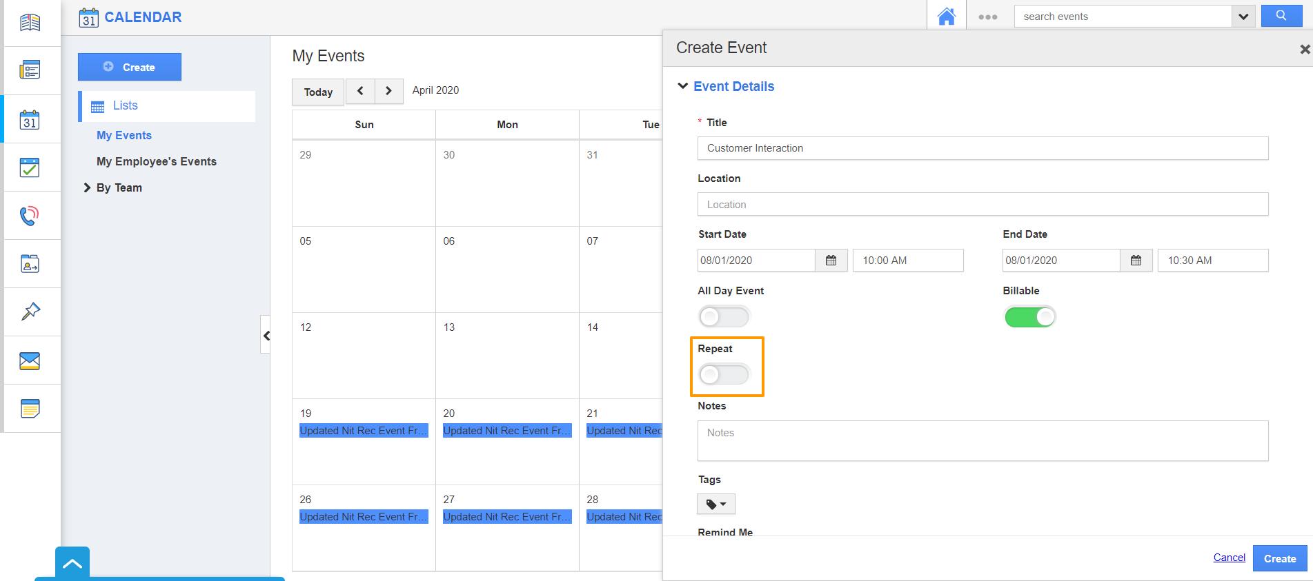 Create Event