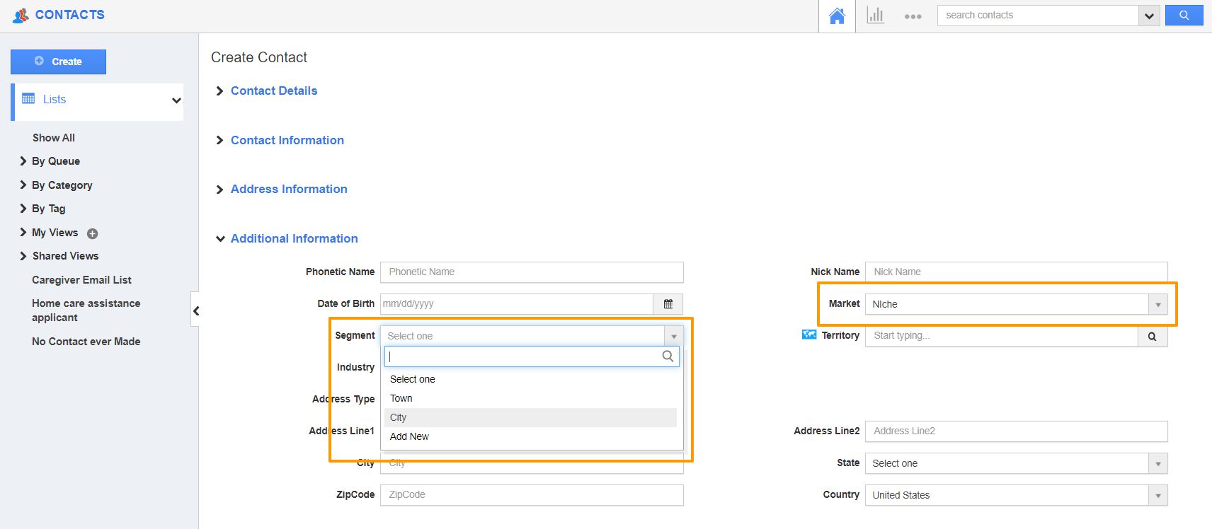 Create Contacts Page