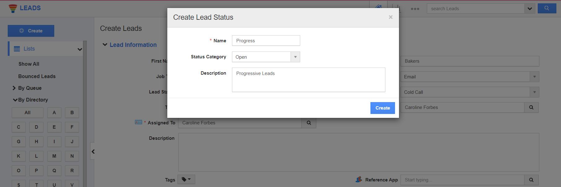 Create Lead Status