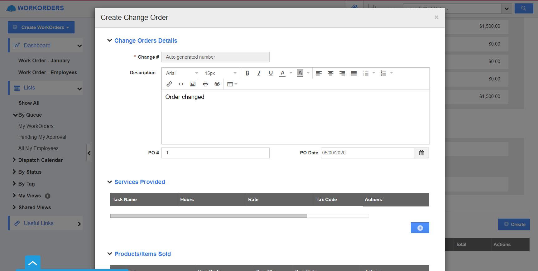 Change Order Window