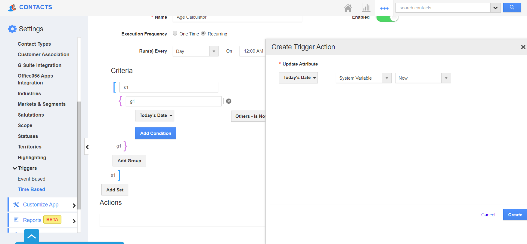 Create Trigger Action