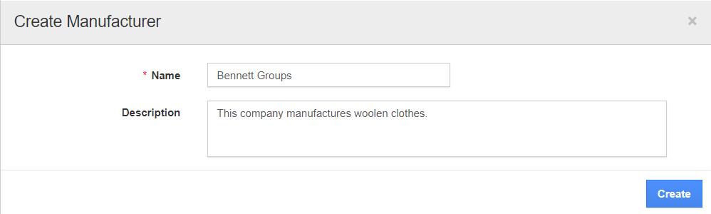 Create Manufacturer