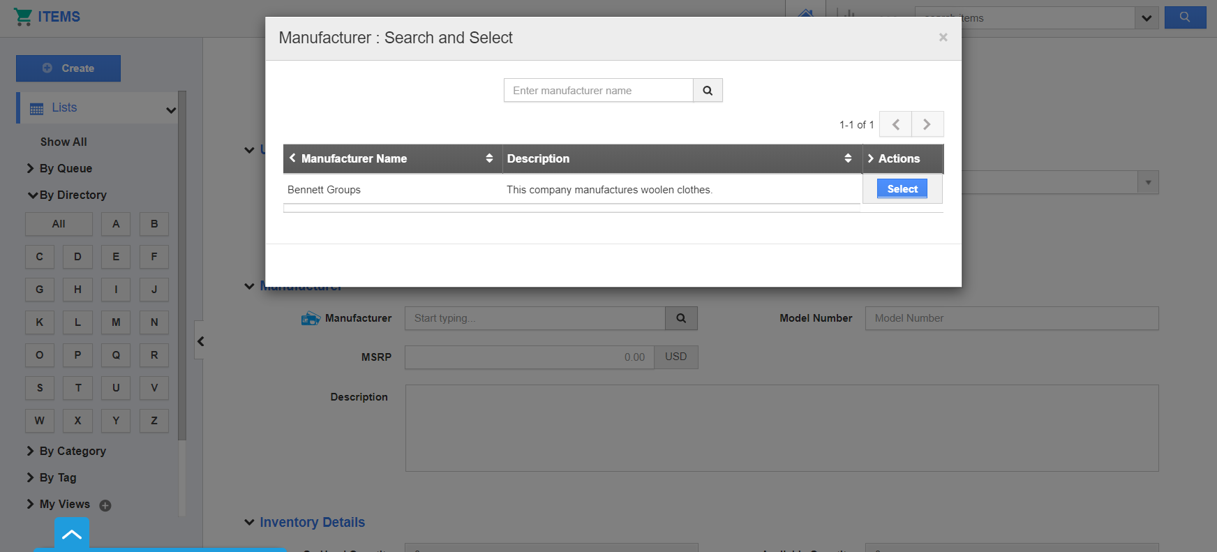 Manufacturer Search and Select