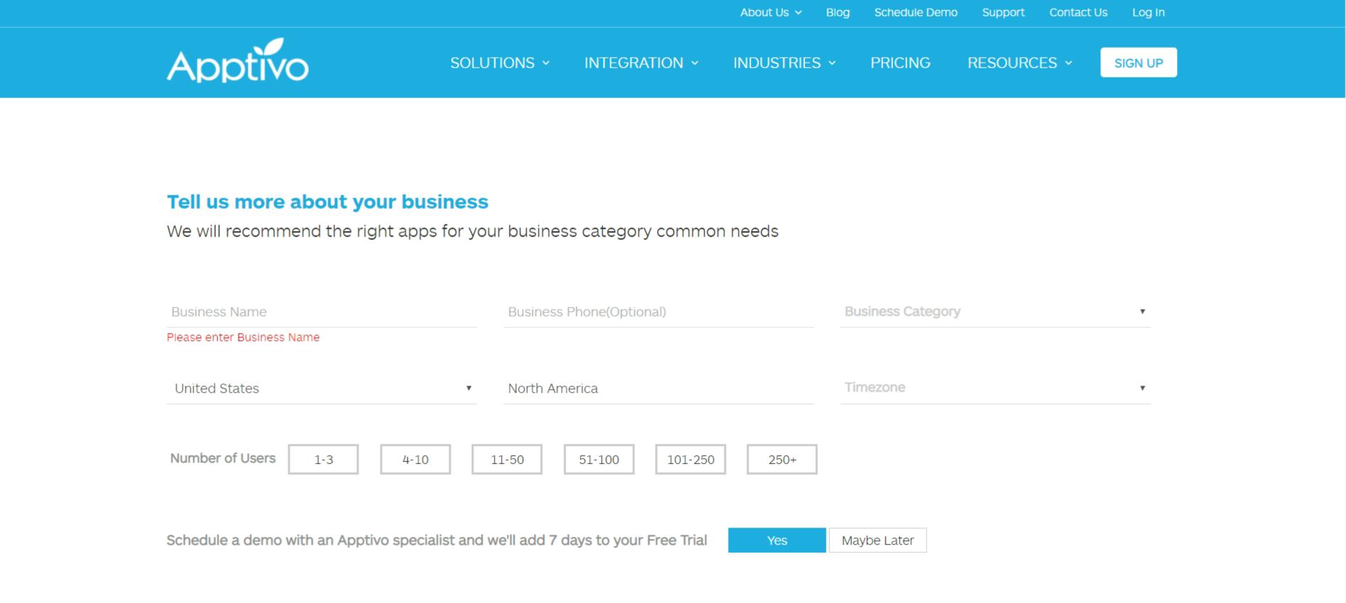 Apptivo Business Page