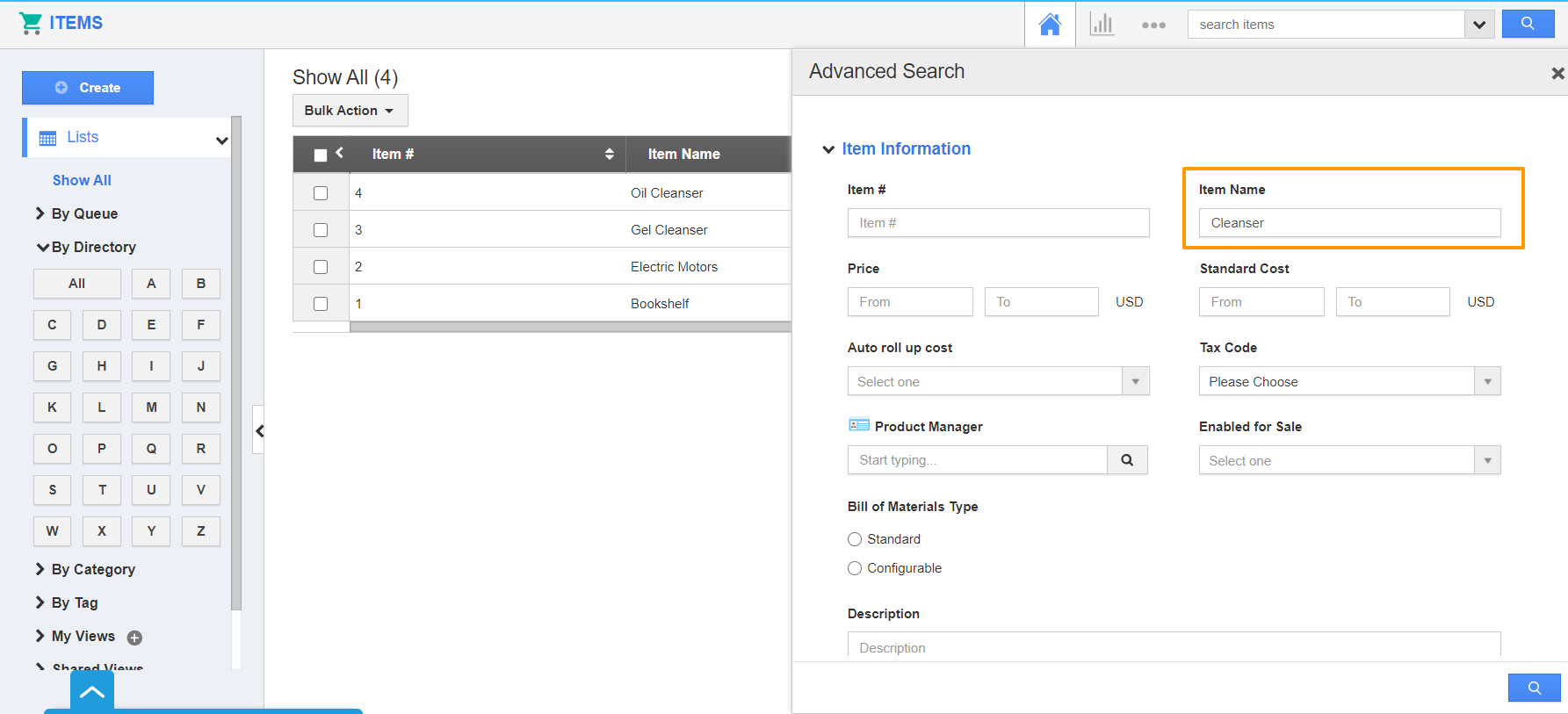 Advanced Search Side Panel