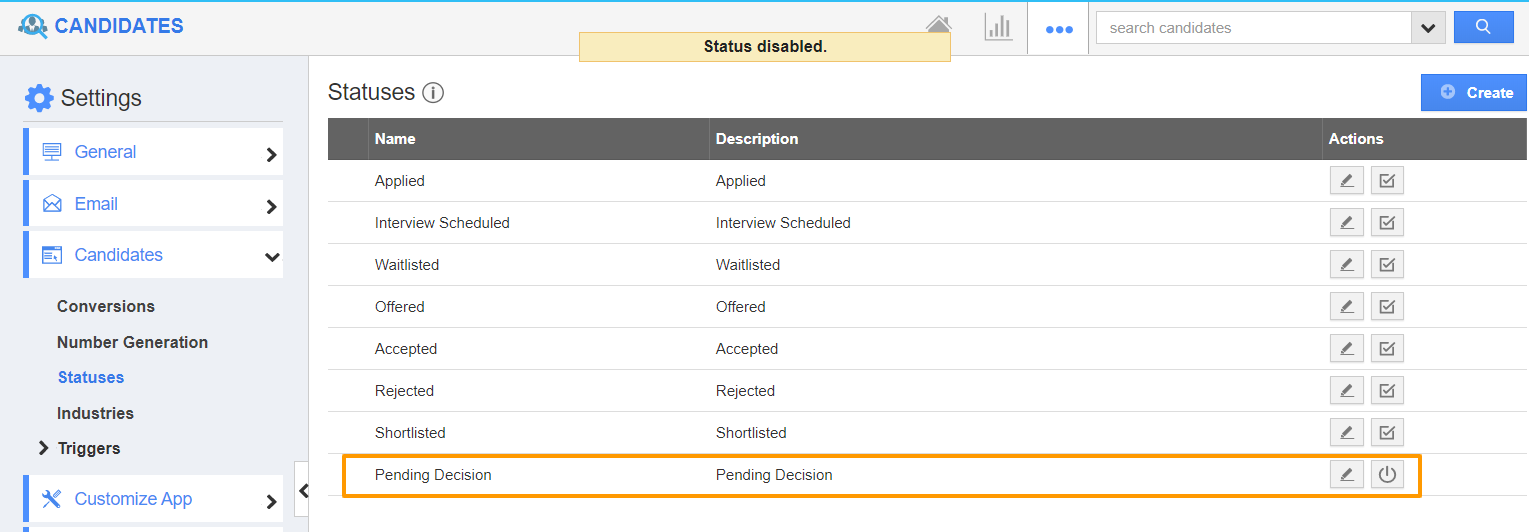 Status Disabled