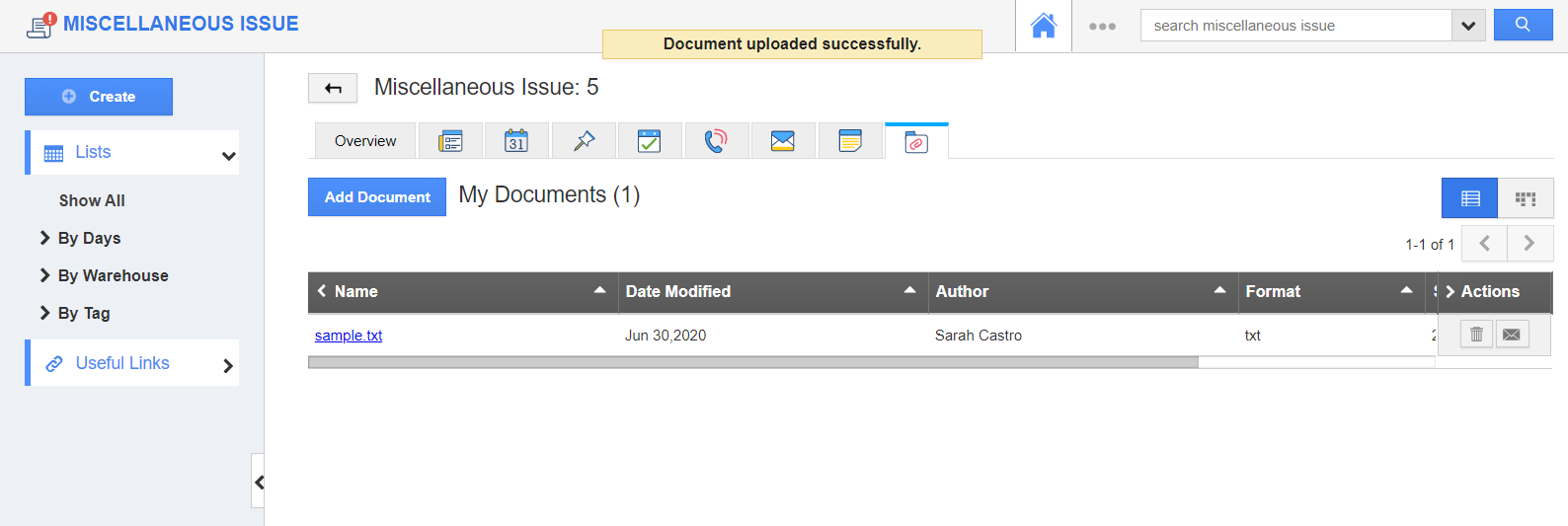 Document Added