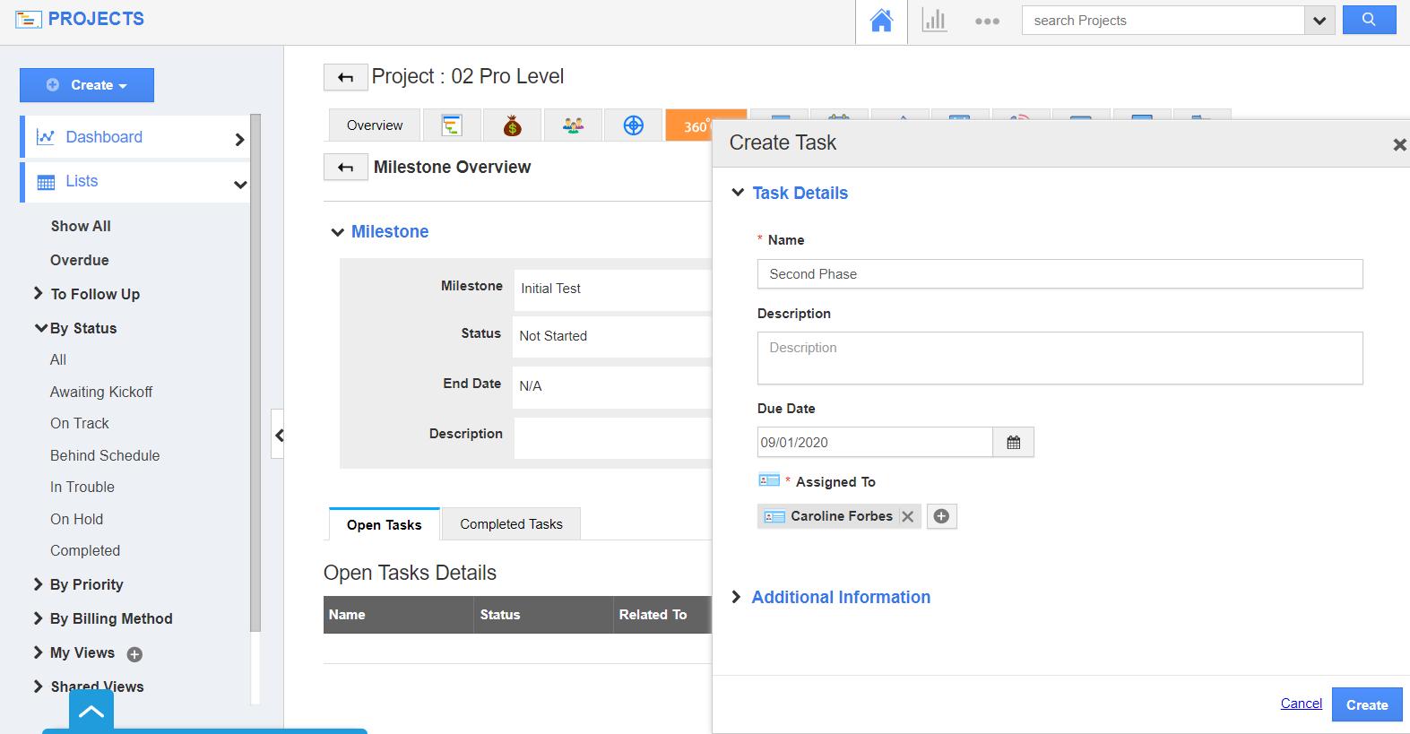 Create Task Window