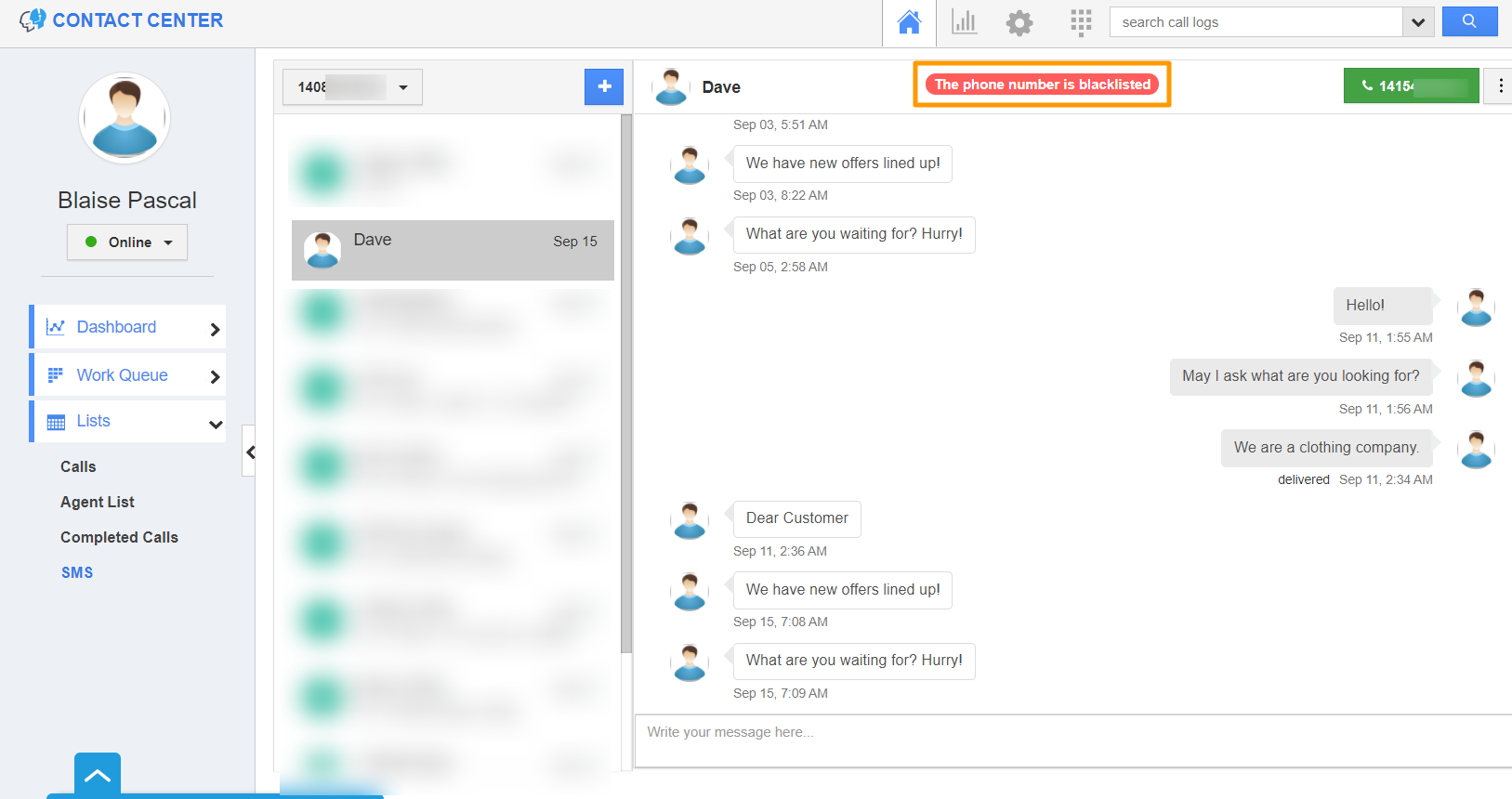 SMS Dashboard