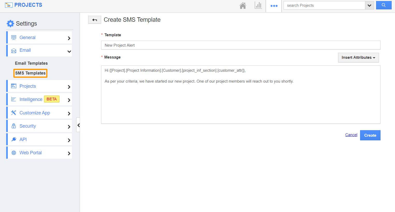 Create SMS Template