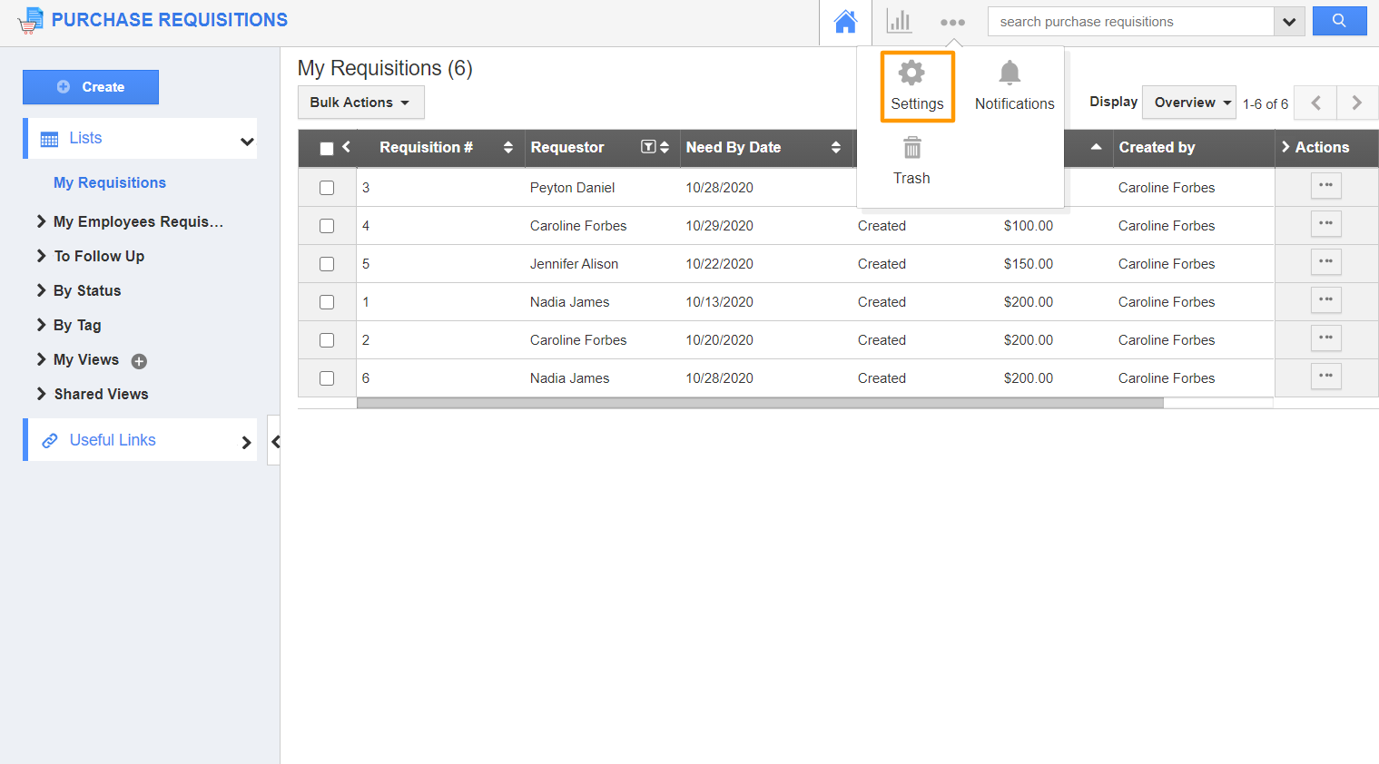Purchase Requisitions App
