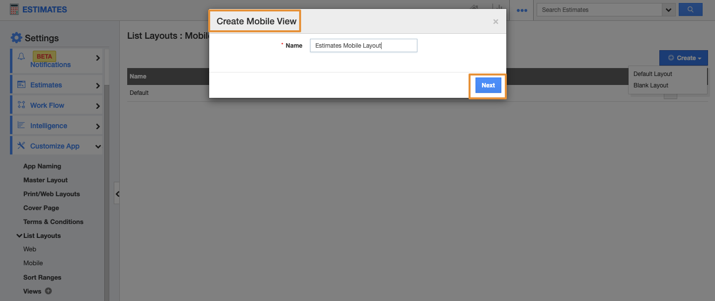 Create Mobile View