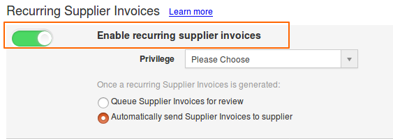 Enable Recurring Supplier Invoices