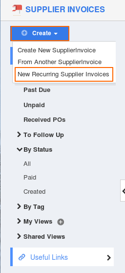 New Recurring Supplier Invoices