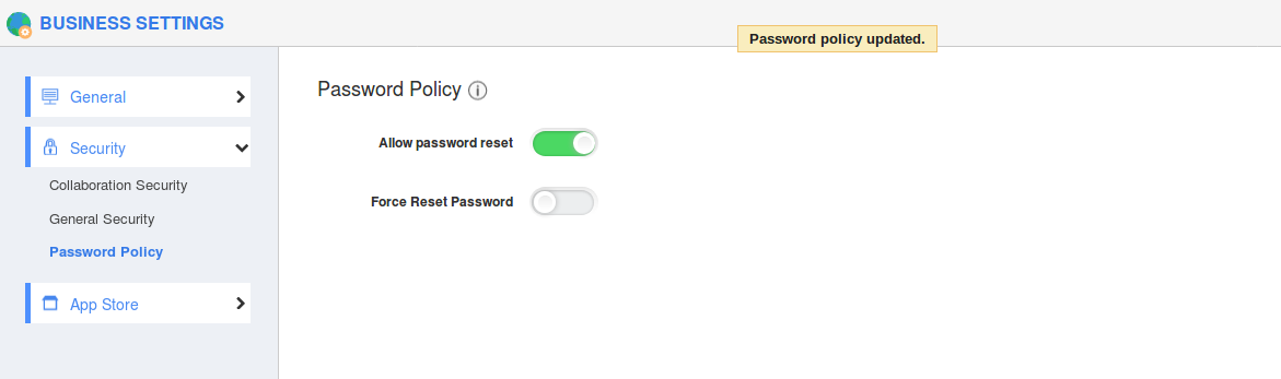 Enabled Password reset