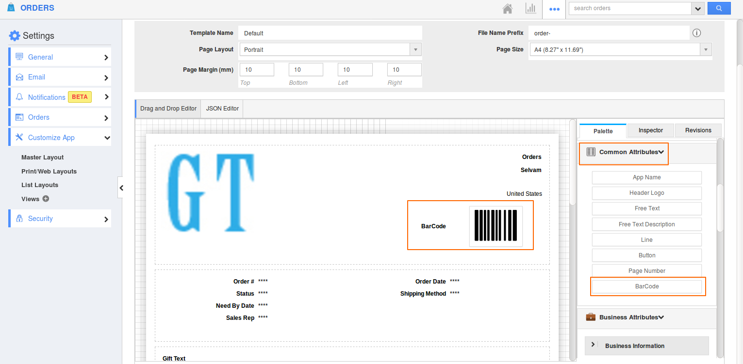 Barcode-attribute