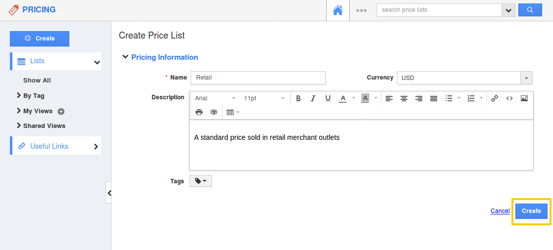 Creation of Pricing List
