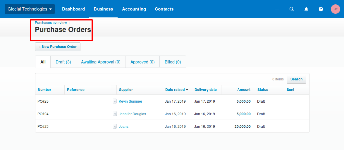 Overview of Purchase Orders in Xero