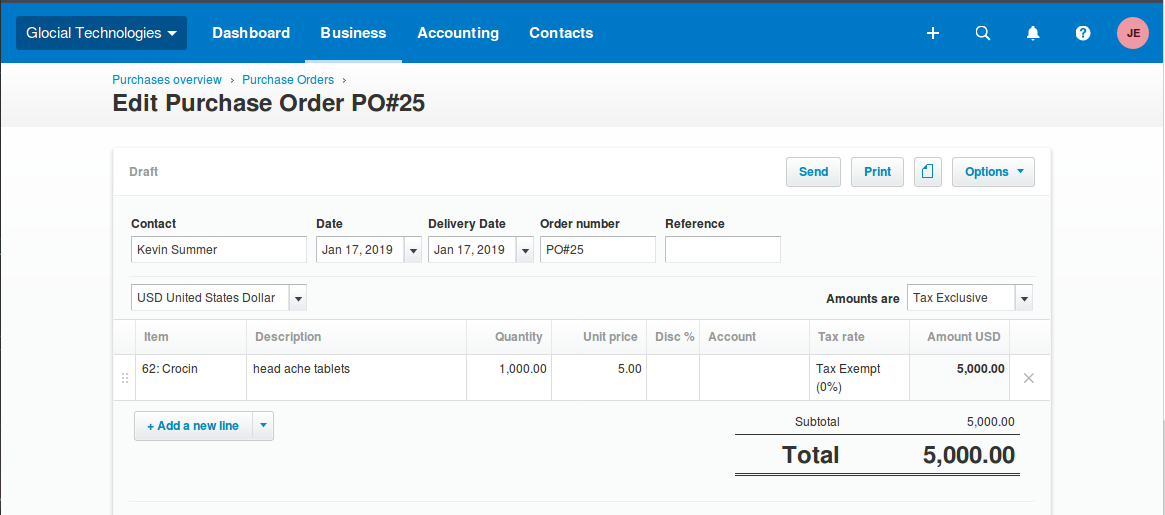 Detailed Purchase Orders in Xero