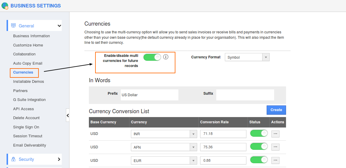 Configure Currencies in Business Settings   Apptivo Business