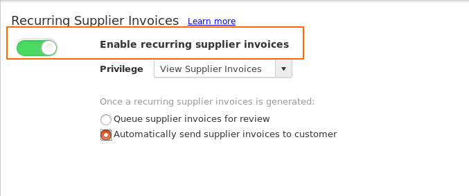 Recurring Supplier Invoices