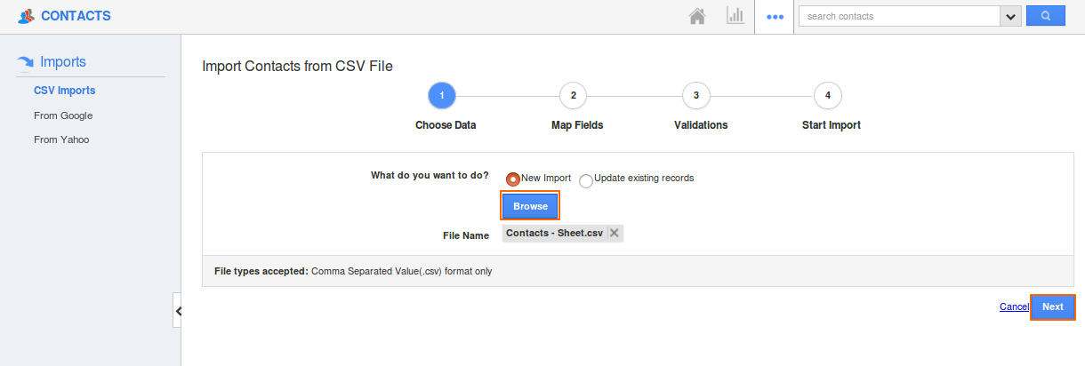 How do I Import Contacts from CSV File? | Apptivo FAQ