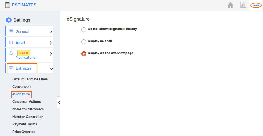 Selecting eSign History