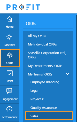 Navigation → OKRs → Team OKRs → Sales