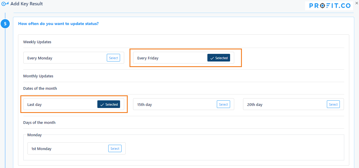 How often do you want to update status?